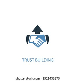 trust building concept 2 colored icon. Simple blue element illustration. trust building concept symbol design. Can be used for web and mobile UI/UX