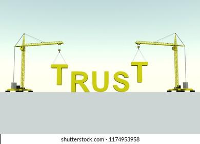 TRUST building concept crane white background 3d illustration