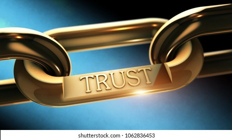 Trust word as symbol in chrome chain 3D illustration