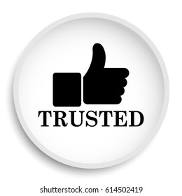 Trusted icon. Trusted website button on white background.