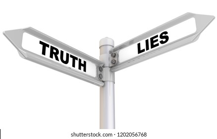 Truth and lies. Way mark. Road sign with black words TRUTH and LIES. Isolated. 3D Illustration