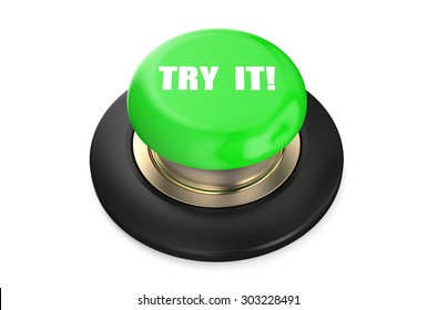 Try It! green push button isolated on white background