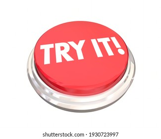 Try It Red Round Button Suggestion Recommended Trial Period 3d Illustration