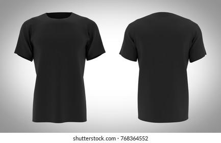 Tshirt Black color front & black / 3D Render