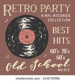 T-shirt design, retro party with vinyl record typography graphics, illustration .