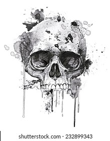 T-shirt Graphics/skull print/skull illustration/evil skull/concert posters/rock and roll themed graphic/T-shirt graphics for textile/Black grunge vector skull/Human skull on isolated white background