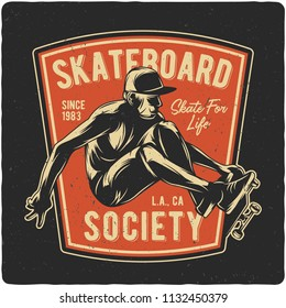 T-shirt or poster design with hand drawn illustration of boy flying on skateboard. Raster copy.