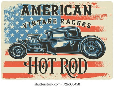 T-shirt or poster design with illustration of hot rod. Raster copy.