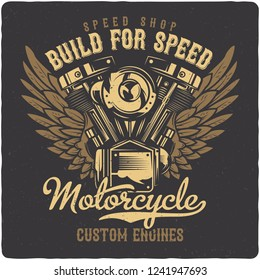 T-shirt or poster design with illustration of motorcycle engine. Design with text composition. Raster copy
