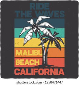 T-shirt or poster design with illustration of two palms. Design with text composition. Raster copy.