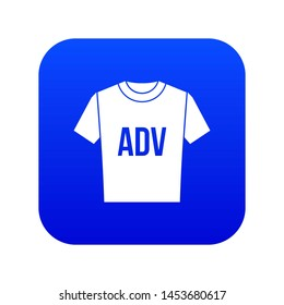 T-shirt with print ADV icon digital blue for any design isolated on white illustration