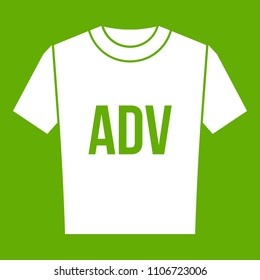 T-shirt with print ADV icon white isolated on green background. illustration