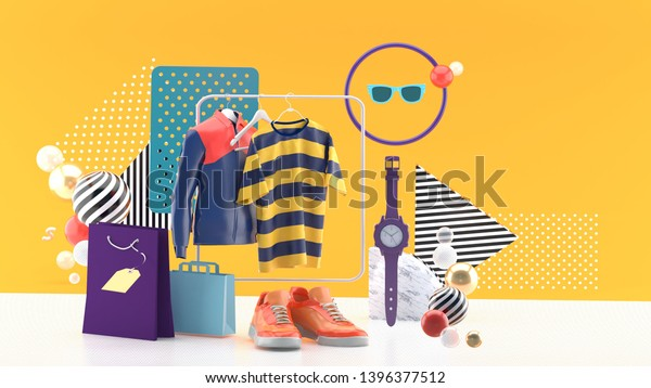 T-shirts and jackets on square rails Surrounded by shoes, watch, sun glasses and shopping bags On a yellow background.-3d rendering.
