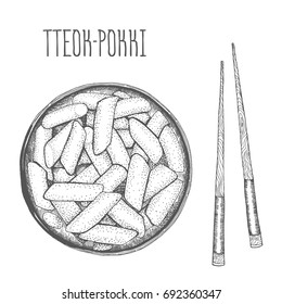 Tteokbokki Korean food. Hand drawn illustration. Linear graphic. Engraved style.