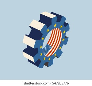 TTIP - Transatlantic Trade and Investment Partnership. Europe and USA association. Gear textured by flag