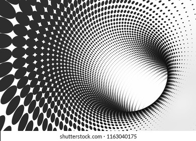 Tube optical 3D illusion raster illustration. Halftone torus inside view image. Black and white hypnotic clipart. Endless effect. Spiral, tunnel. Psychedelic monochrome contrast geometric background