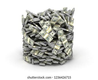 Tubes form stacked us dollars isolated on white background. Bucket of cash. 3D illustration