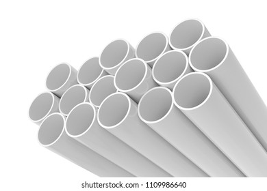 Tubes PVC pipes isolated on white background, 3D rendering