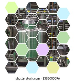 Tubular Aseptic UHT Pasteurizer graphic design in hexagon shape