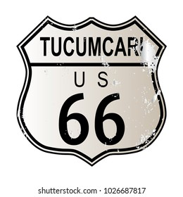 Tucumcari Route 66 traffic sign over a white background and the legend ROUTE US 66