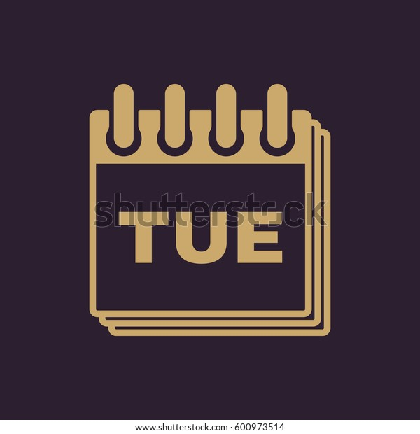 Tuesday icon. Tue and calendar, data symbol. Flat design. Stock -  illustration