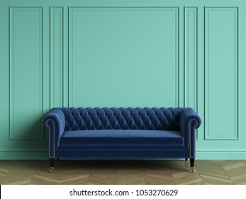 Tufted blue sofa in classic interior with copy space.Turquoise color walls with mouldings. Floor parquet herringbone.Digital Illustration.3d rendering