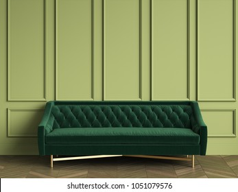 Tufted dark green sofa in classic interior with copy space.Green walls with mouldings. Floor parquet herringbone.Digital Illustration.3d rendering