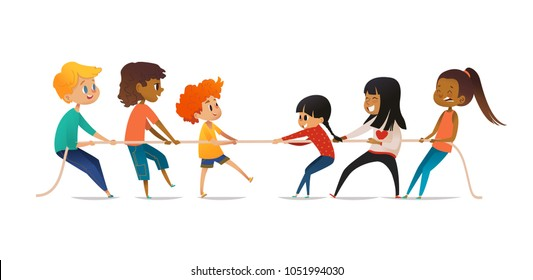 Tug of war contest between boys and girls. Two groups of children of different gender pulling opposite ends of rope. Concept of gender equality among kids, team sports. Vector illustration for banner