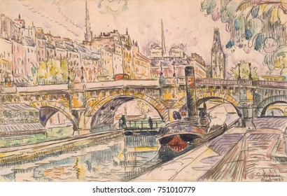 Tugboat at the Pont Neuf, Paris, by Paul Signac, 1923, French Post-Impressionist, watercolor painting. Signac applied watercolor over a black crayon drawing in this cityscape
