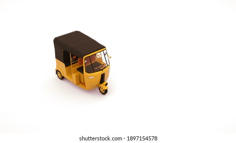 Tuk tuk car to transport people in asia. 3d illustration of car rickshaw, element isolated on white background.