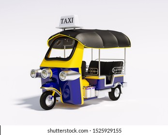 Tuk-Tuk Motor-tricycle, Tuktuk car, Tri motor cycle, Motorbike taxi 3d rendering. 3D illustration Thai vehicle Tuk Tuk in Bangkok of Thailand traditional on white background, clipping path included.
