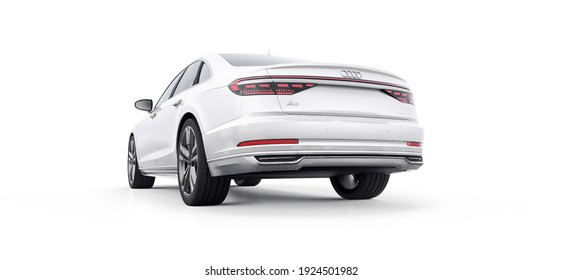Tula, Russia. February 24, 2021: Audi A8 Quattro 2020 luxury stylish car isolated on white background. 3d rendering