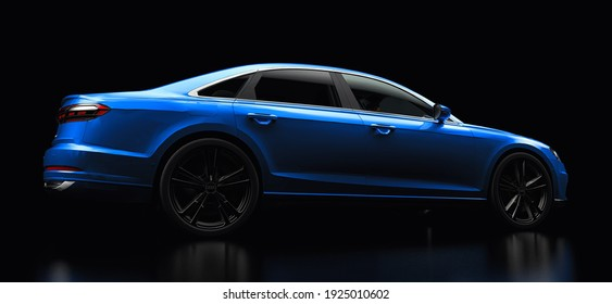 Tula, Russia. February 25, 2021: Audi A8 Quattro 2020 luxury stylish car isolated on black background. 3d rendering
