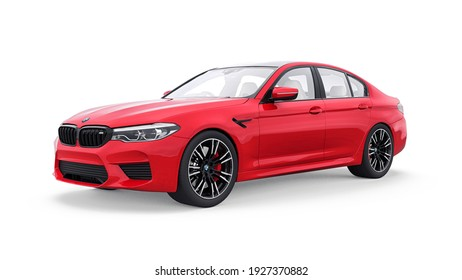 Tula, Russia. February 26, 2021: BMW M5 red luxury sport car isolated on white background. 3d rendering