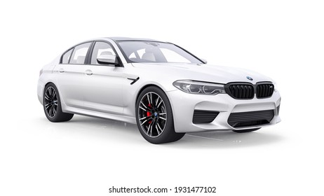 Tula, Russia. February 26, 2021: BMW M5 white luxury sport car isolated on white background. 3d rendering