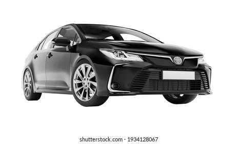 Tula, Russia. February 28, 2021: Toyota Corolla Sedan 2020 compact city black car isolated on white background. 3d rendering
