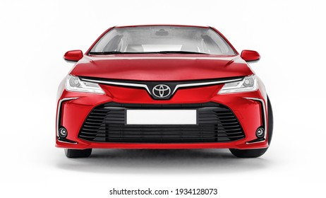 Tula, Russia. February 28, 2021: Toyota Corolla Sedan 2020 compact city red car isolated on white background. 3d rendering