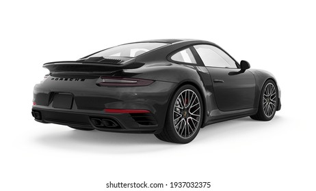 Tula, Russia. March 15, 2021: Porsche 911 Turbo S 2016 black sports car coupe isolated on white background. 3d rendering.