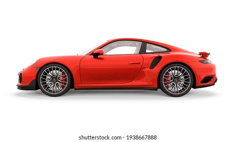 Tula, Russia. March 16, 2021: Porsche 911 Turbo S 2016 red sports car coupe isolated on white background. 3d rendering