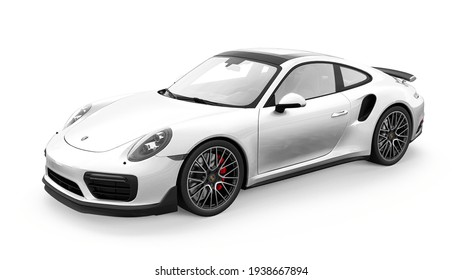 Tula, Russia. March 16, 2021: Porsche 911 Turbo S 2016 white sports car coupe isolated on white background. 3d rendering