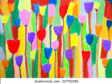 Tulips. Abstract color painting. Hand-drawn illustration. Color oil pastels on watercolor paper.