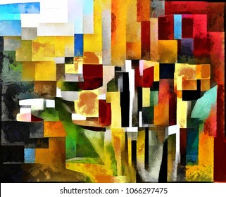 Tulips. Abstraction in the style of cubism. The picture is made by oil on canvas with elements of pastel painting.