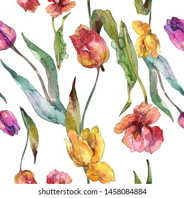 Tulips floral botanical flowers. Wild spring leaf wildflower. Watercolor illustration set. Watercolour drawing fashion aquarelle. Seamless background pattern. Fabric wallpaper print texture.