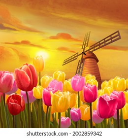 Tulips Garden. Realistic Fantastic Scenes. Fantasy Nature Backdrop. Concept Art. Book Illustration. Video Game Background. Serious Digital Painting. Scenery CG Artwork.