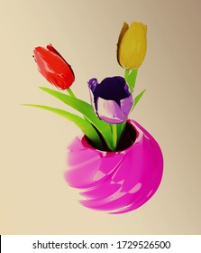 Tulips with leaf in vase. 3d rendered on toned background