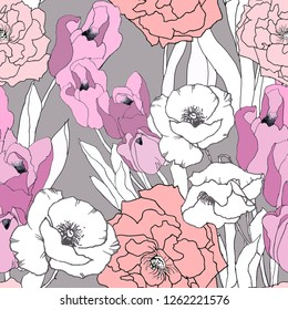 Tulips, poppies and roses light pink on light grey background seamless  pattern for all prints on hand darwing style.