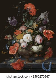Tulips and roses. Still life. In the style of the ancient Dutch masters. Painting oil canvas 2019.