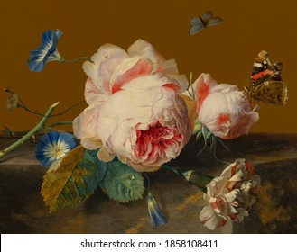 Tulips and roses . Still life. In the style of the ancient Dutch masters. Painting oil canvas 2020.