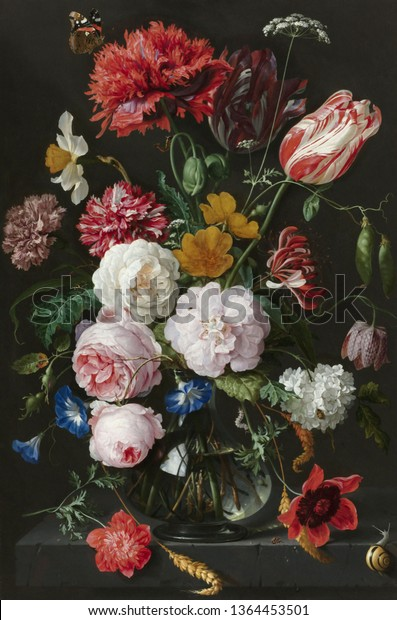 Tulips and roses  .Still life. In the style of the ancient Dutch masters. Painting oil canvas 2019.