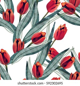 Tulips seamless pattern. Raster illustration.